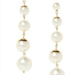 Banana Republic long pearl and gold earrings
